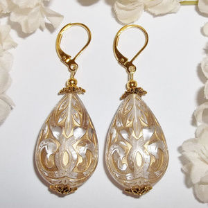 Gold and Clear Statement Earrings Teardrop Beaded